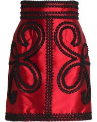 Dolce & Gabbana - Appliquéd Silk-blend Satin-twill Mini Skirt - Lyst