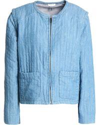 Soft Joie - Woman Cotton-blend Chambray Jacket Light Blue - Lyst