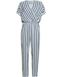 7625a882ced Lyst - Maje Ipandoni Pinstripe And Chevron-pattern Woven Playsuit in ...