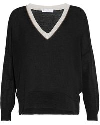Brunello Cucinelli | Bead-embellished Open-knit Cotton Sweater | Lyst
