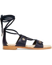 Rag & Bone - Evelyn Suede-trimmed Leather Sandals - Lyst