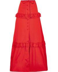 Alexis - Henna Ruffle-trimmed Cotton-blend Maxi Skirt - Lyst
