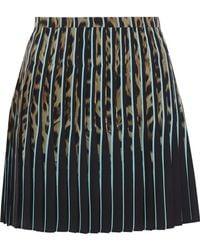 Roberto Cavalli - Pleated Leopard-print Silk Crepe De Chine Mini Skirt - Lyst