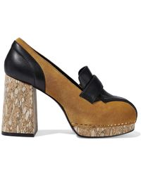 50295b4b66d Opening Ceremony - Leather-paneled Suede Platform Court Shoes - Lyst