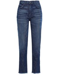 Joie - Josie Frayed High-rise Straight-leg Jeans - Lyst