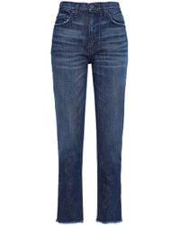 Joie - Woman Josie Frayed High-rise Straight-leg Jeans Mid Denim - Lyst