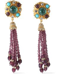 Ben-Amun - Gold-tone Swarovski Crystal And Stone Clip Earrings - Lyst