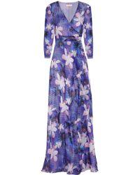 Matthew Williamson | Printed Silk-chiffon Wrap Gown | Lyst