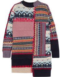 Alexander McQueen | Patchwork Chunky-knit Wool-blend Dress | Lyst