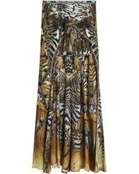 Camilla - Asymmetric Printed Silk Crepe De Chine Skirt Animal Print - Lyst