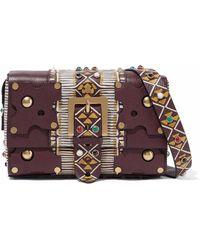 Valentino - Embellished Textured-leather Shoulder Bag - Lyst
