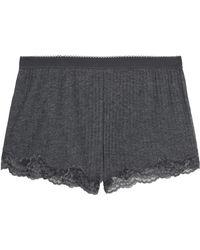 Stella McCartney - Lace-trimmed Mélange Ribbed-knit Pyjama Shorts - Lyst