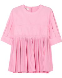 Cedric Charlier - Woman Pleated Cotton-blend Poplin Top Bubblegum - Lyst