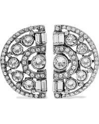 Ben-Amun - Silver-plated Crystal Clip Earrings - Lyst