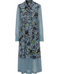 Markus Lupfer - Alanis Georgette-paneled Printed Silk Crepe De Chine Midi Dress - Lyst