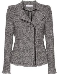IRO | Leather-trimmed Frayed Cotton-blend Tweed Jacket | Lyst