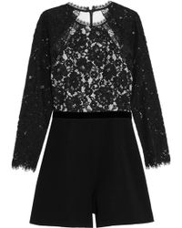 Alexis - Tammy Corded Lace And Crepe Playsuit - Lyst
