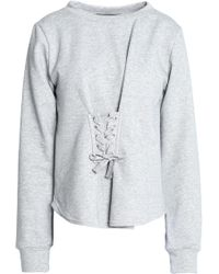 W118 by Walter Baker - Isabella Lace-up French Terry And Cotton-blend Poplin Sweatshirt Light Gray - Lyst