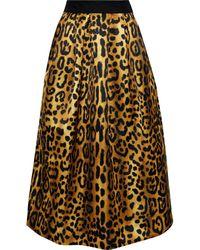 Adam Lippes Gathered Leopard-print Duchesse-satin Midi Skirt Animal Print - Multicolour