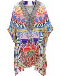 Camilla - Printed Embellished Lace-up Silk Kaftan - Lyst
