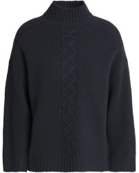 Goat Library - Woman Cable-knit Wool-blend Jumper Dark Grey - Lyst