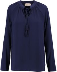 MICHAEL Michael Kors - Embroidered Hammered-crepe Blouse - Lyst