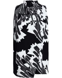 Halston - Wrap-effect Printed Crepe Top - Lyst