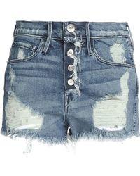3x1 | Distressed Denim Shorts Mid Denim | Lyst