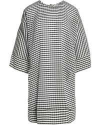 Maison Kitsuné | Gingham Silk And Wool-blend Crepe Dress | Lyst