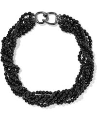 Kenneth Jay Lane - Woman Gunmetal-tone Bead Necklace Black Size -- - Lyst