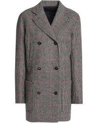 Vanessa Seward - Woman Double-breasted Checked Wool Jacket Taupe - Lyst