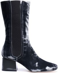 Sigerson Morrison - Eartha Patent Leather-trimmed Velvet Boots - Lyst