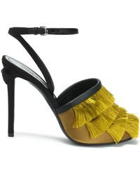 Marco De Vincenzo - Leather-trimmed Fringed Satin Sandals - Lyst