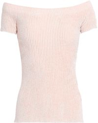 Helmut Lang - Woman Off-the-shoulder Ribbed Chenille Top Pastel Pink - Lyst