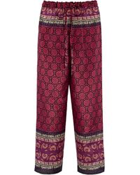 Anna Sui - Printed Silk And Cotton-blend Straight-leg Pants - Lyst