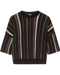 Adam Lippes - Striped Open-knit Cotton-blend Top - Lyst