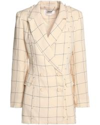 Zimmermann - Double-breasted Frayed Checked Linen-twill Blazer - Lyst