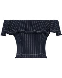 T By Alexander Wang - Off-the-shoulder Ruffled Pinstriped Cotton Top - Lyst