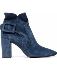 Roger Vivier - Bottine Peppy Buckled Suede Ankle Boots - Lyst