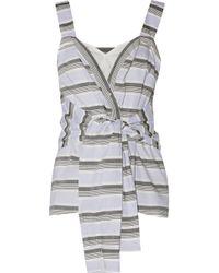 65e732037cfef 10 Crosby Derek Lam - Woman Tie-front Striped Cotton-poplin Top Sky Blue