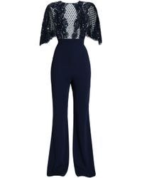 Zuhair Murad - Woman Lace-trimmed Embellished Tulle And Silk-crepe Jumpsuit Navy Size 38 - Lyst