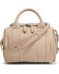 Alexander Wang - Woman Rockie Studded Textured-leather Tote Beige - Lyst