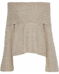 Elizabeth and James - Sophie Off-the-shoulder Bouclé Linen-blend Sweater - Lyst