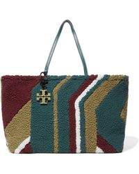Tory Burch - Britten Color-block Shearling Tote - Lyst