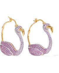 Noir Jewelry - Gold-tone Crystal Hoop Earrings - Lyst