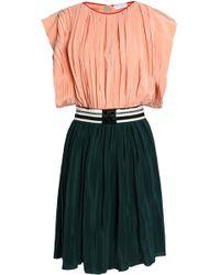 Vionnet - Striped Two-tone Silk-satin Pleated Mini Dress - Lyst