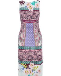 Etro - Woman Printed Stretch-cady Dress Multicolor - Lyst