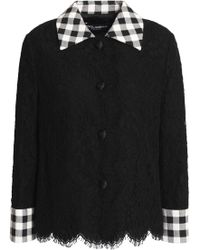 Dolce & Gabbana - Gingham-trimmed Cotton-blend Corded Lace Jacket - Lyst
