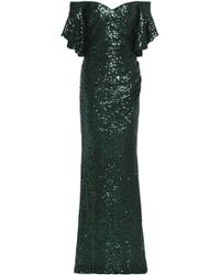 Badgley Mischka - Off-the-shoulder Sequined Tulle Gown - Lyst