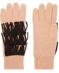 Autumn Cashmere | Suede-trimmed Fringed Cashmere Gloves | Lyst